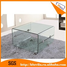 Cheap modern tempered bent glass coffee table