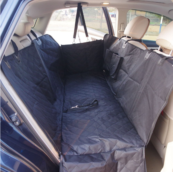 Luxury zipper quilted dog seat cover with storage pockets