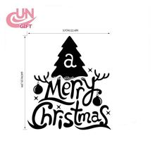 Festive Merry Christmas Transparent PVC Sticker Easy Remove Merry Christmas Wall Sticker