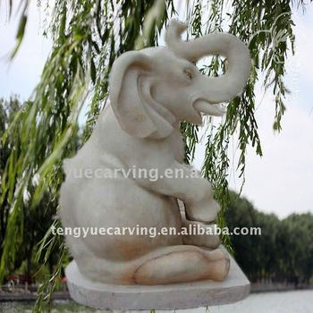 white marble animal elephant carved statue