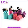 Beauty equipment colored 12pcs makeup brushes with cylinder factory price