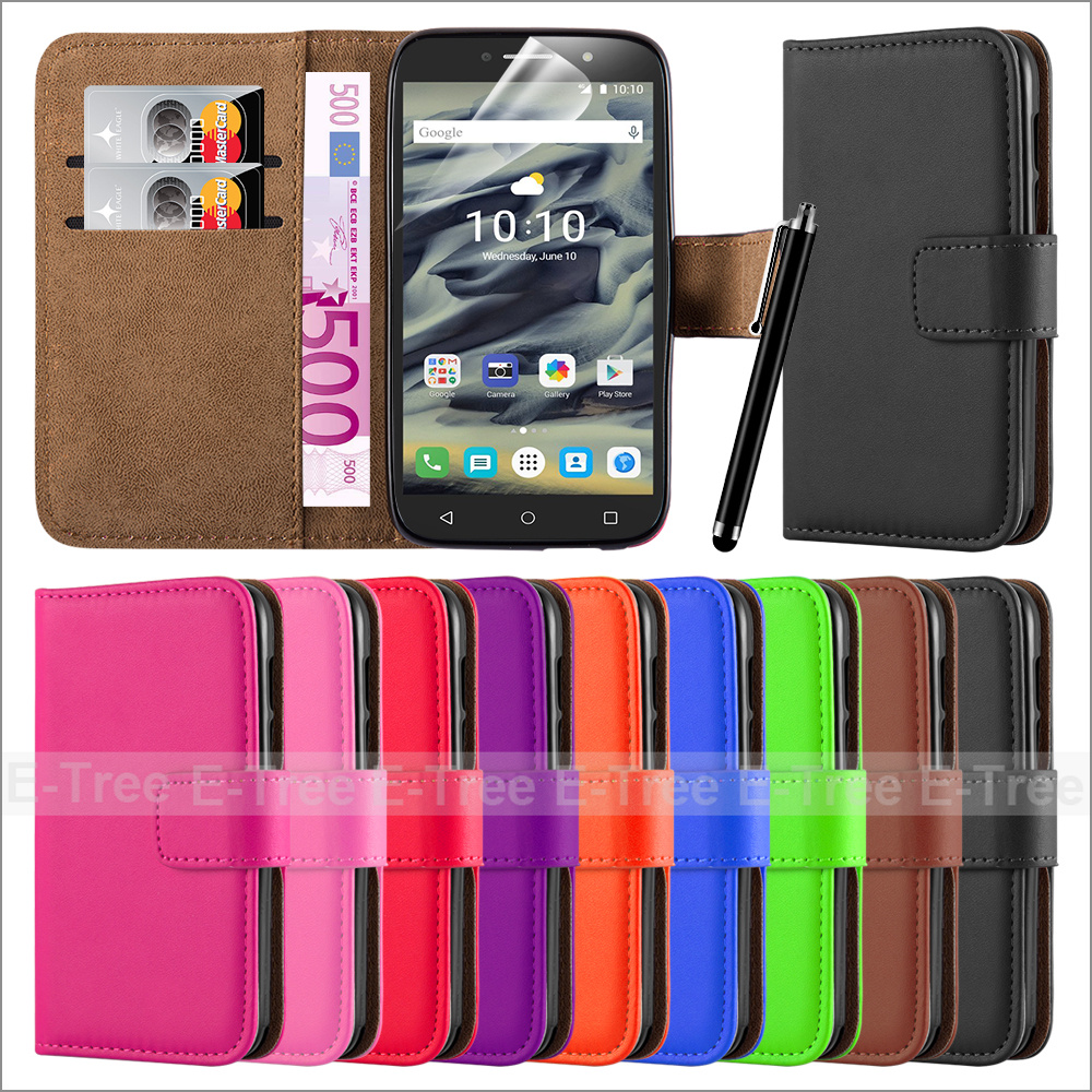 PU Leather Mobile Phone Case Back Cover For Alcatel One Touch Pixi 4 4.0