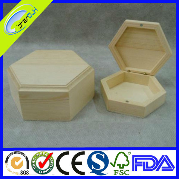 Unpainted wooden boxes with sliding lid