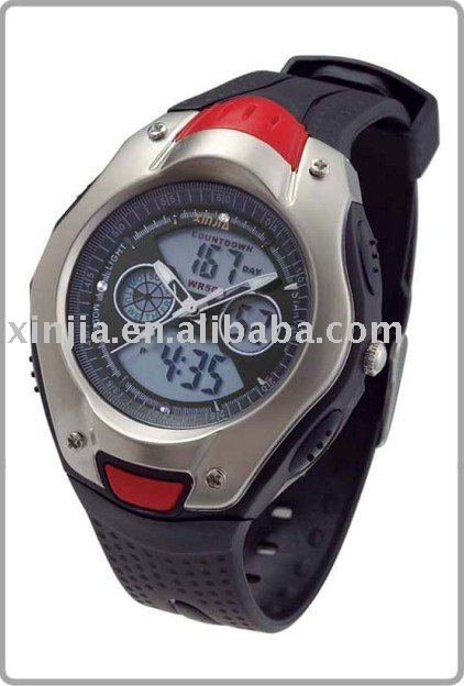 2014 plastic Japan movt sport watch with alloy case