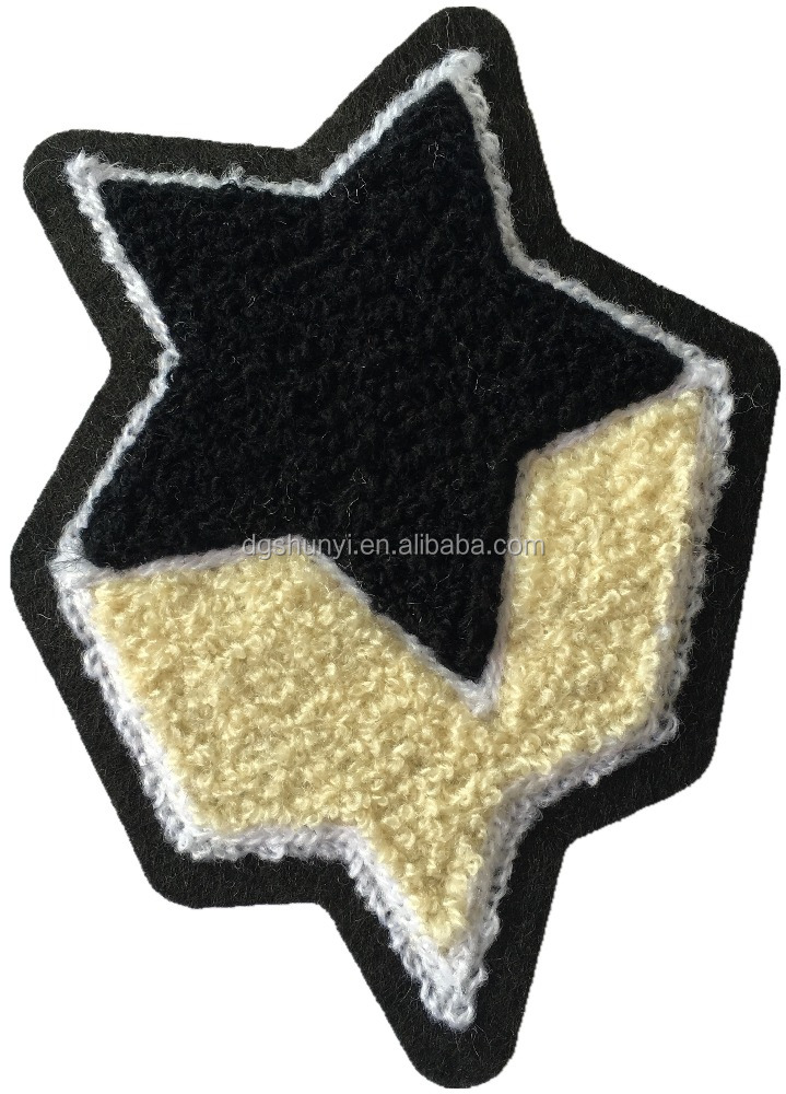 high quality five-pointed star chenille embroidery iron on patches