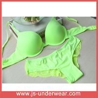 New Design beautiful bra sexy fluorescence green bra set ,ladies sexy panty and bra sets