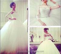 Custom Made New Lace Long Sleeve Ball Gown Wedding Dresses With Beaded Belt