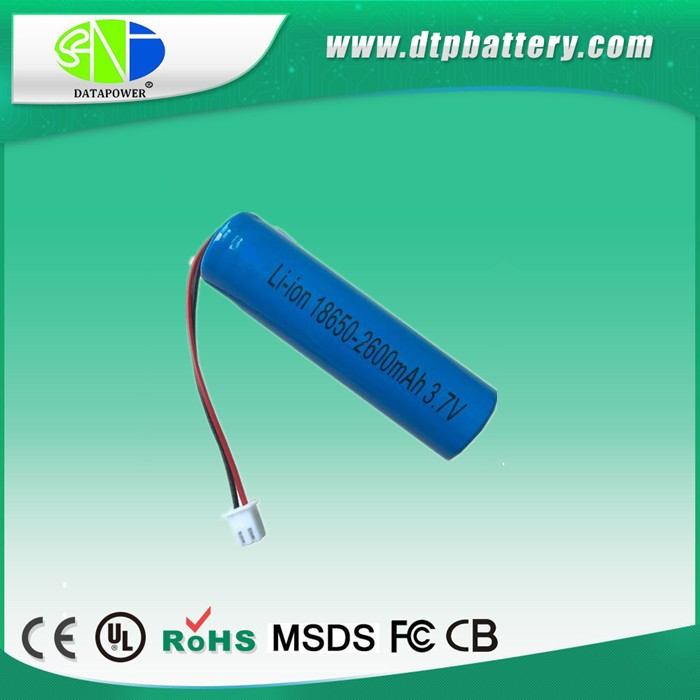18650 3.7 2600mAh li-ion rechargeable battery with PCB and wire for LED light