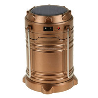 Water resistant LED camping rechargeable emergency light phone charge 140 lumen solar lantern