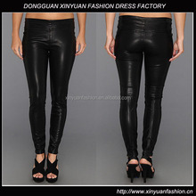 Womens Fashion Stretch Black Leather Legging