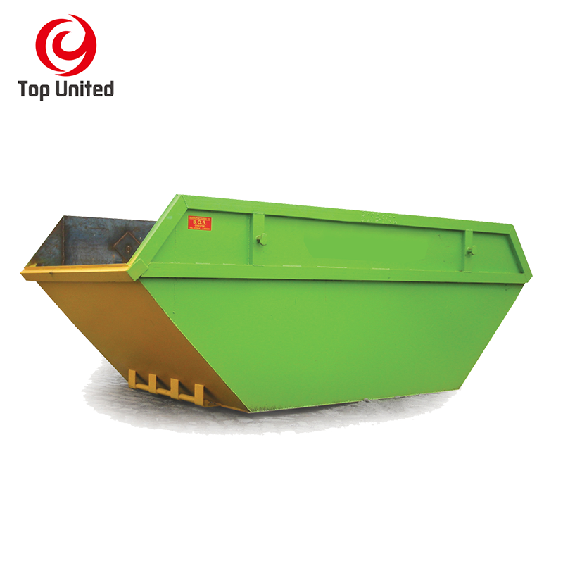 Steel bin Marrel 8 cbm scrape skip container rubbish bins with doors waste recycling in china factory