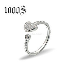 925 Silver Hear Adjustable Ring, Opening Ring