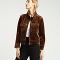 Wholesale western style casual brown long sleeve lapel velvet women fashion jacket