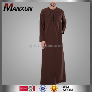 Maxi arabic men thobe zipper muslim clothing long sleeves islamic abaya