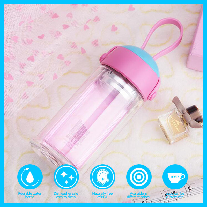 Waterproof Fabric Joyshaker Borosilicate Glass Water Bottle With Carrier