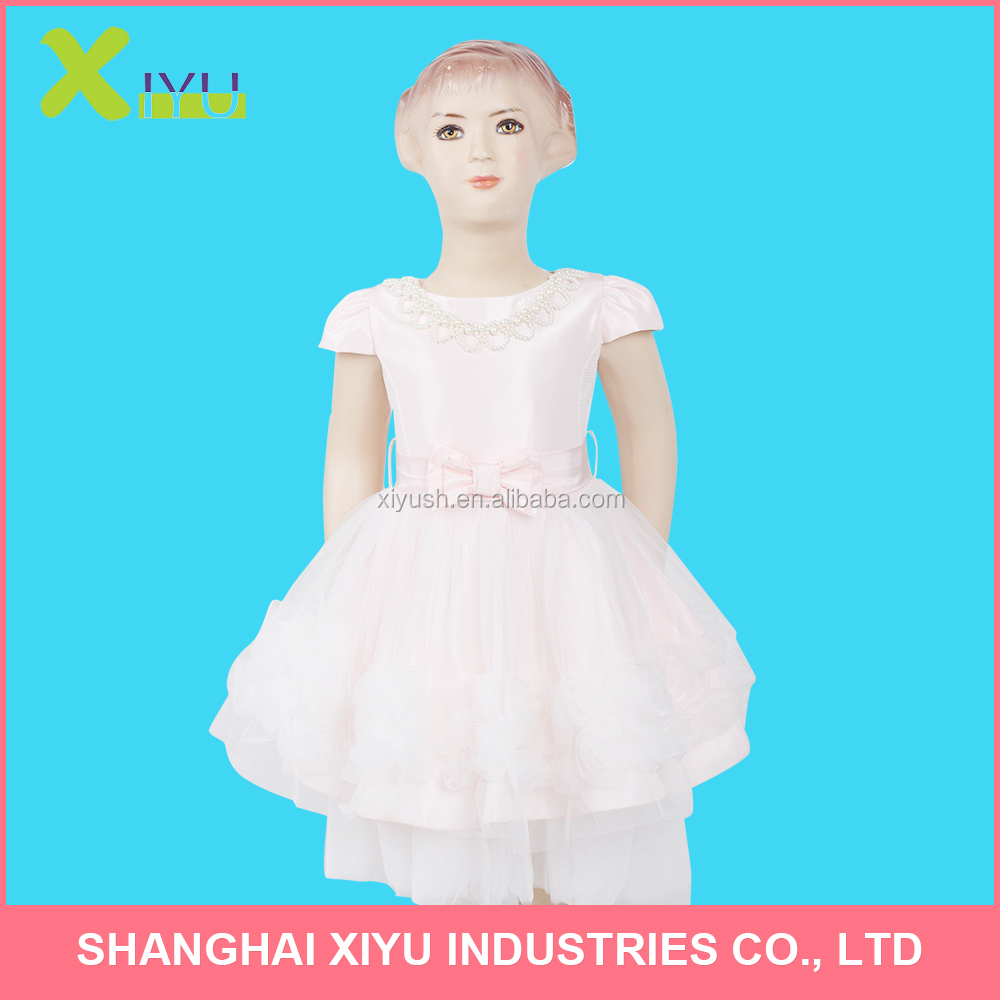 Children flower Girls Princess party Dress With Organza Flower Tape Embroidered Bow Belt Beaded Nickless Girls Dress