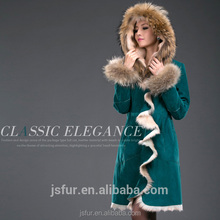 Factory Wholesale Custom Green Raccoon Jacket Coat Real Fur Parka