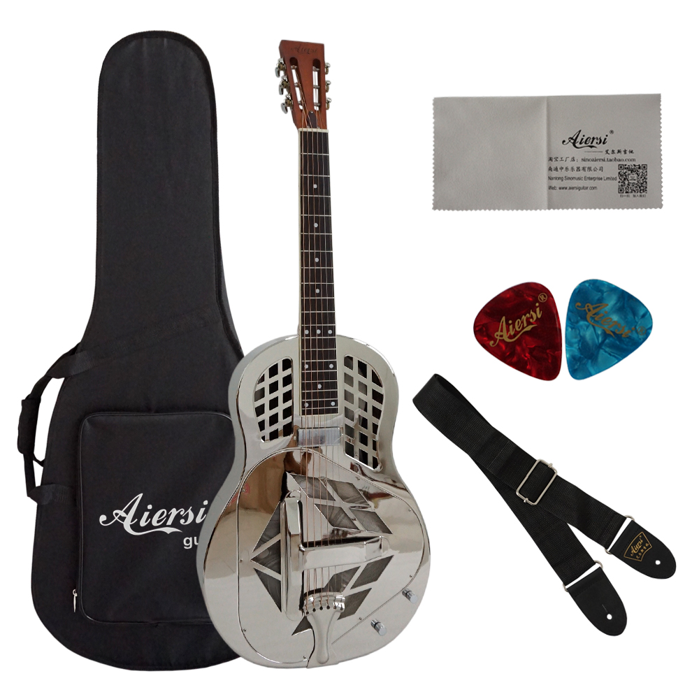 Aiersi Resonator Guitars Pickup Guitar With Guitar Hard Case For Sale