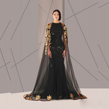 Classic Black And Gold Long Sleeves Evening Dress Arabic Style Gown night dress for fat ladies
