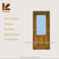 china supplier solid teak wood framed lacquer bathroom interior frosted glass door