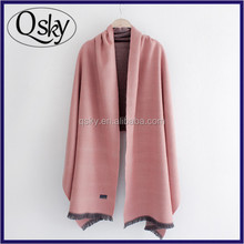 Pure color fashion big size pure cashmere scarf for lady