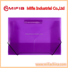plastic filing document case a4/fc elastic band plastic clip file folder for sale