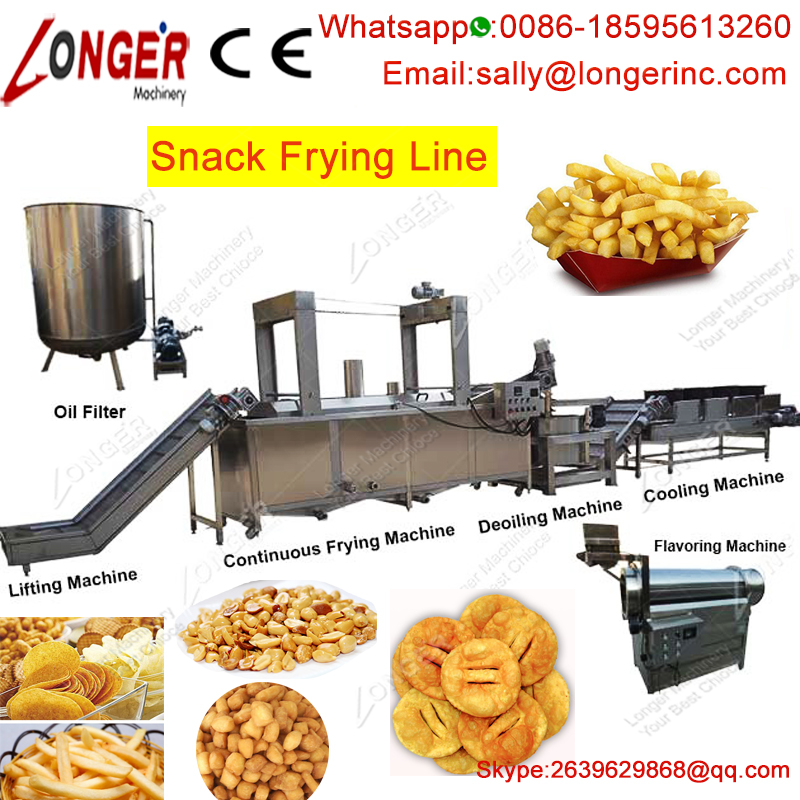 Good Performance Gari Plantain Groundnut Potato Chips Frying Machine