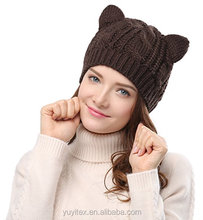 Women's Hat with Cute Animal Ear Crochet Braided Knit Winter Cap