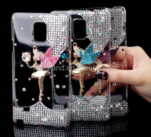 Hot sale beautiful mobile phone skin case cover for Samsung galaxy note 4, diamond bling crystal clear hard back case