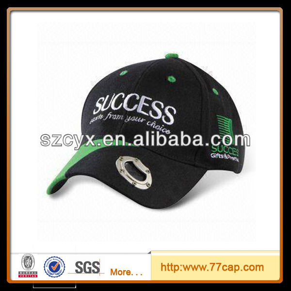 custom cotton washed 6 panels structured design baseball cap with beer bottle opener
