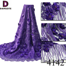 Wholesale high quality 3D africa frence net tulle lace fabric with beads sequined 4142