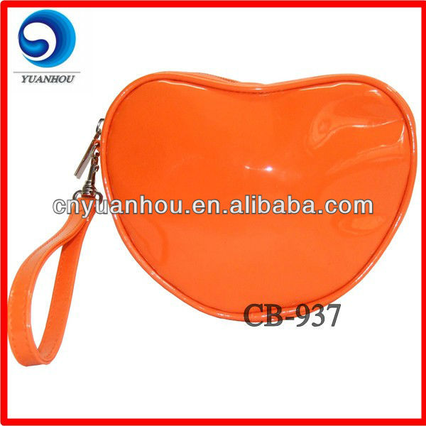 heart shaped bright pu coin purse
