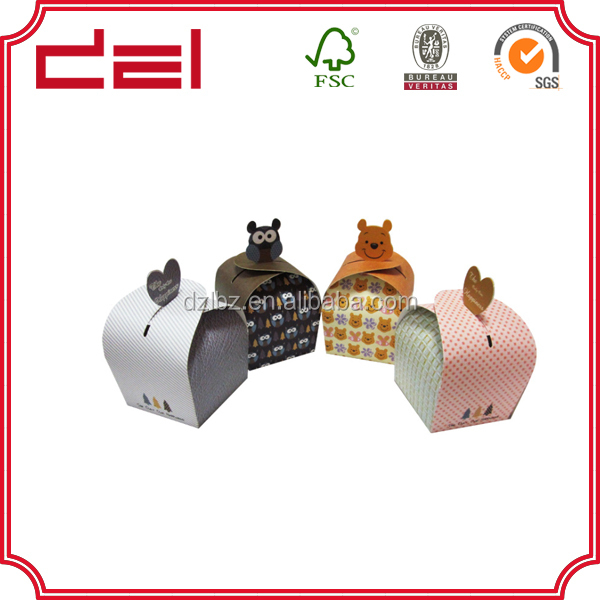 Wholesale custom made cute art paper single cupcake box