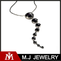 Fashion Women Jewelry New Style Black Zircon Stone Tail Charm Necklace