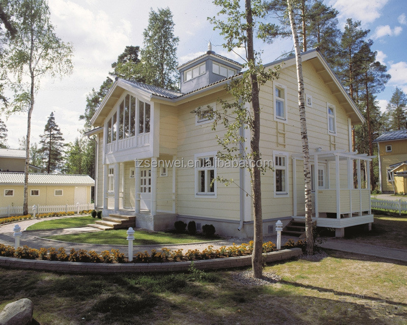 big wooden house, two-storey prefab villa, European style building