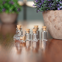 DIY current bottle factory wholesale 0.5 ml 1ml Empty Clear Glass Wishing Bottle Vial With Cork