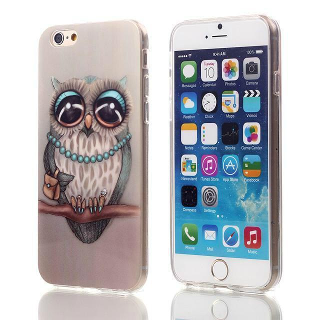 "Cute Owl Tower Flag Pattern Cartoon Soft TPU Silicone Case For Apple iphone 6 iphone6 4.7"" ShockProof Back Skin Protective Cover"