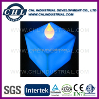 TUV certified cube shape flameless moving wick led candle
