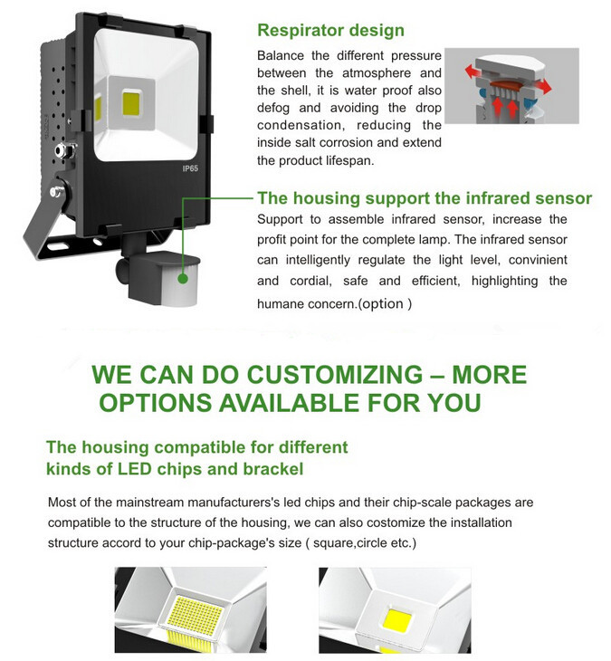CE RoHS IP66 AC100-240V 50W LED Flood Light 90Lm/w