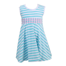 summer Baby Wholesale Clothes dress blue and white stripe girls dress names with pictures