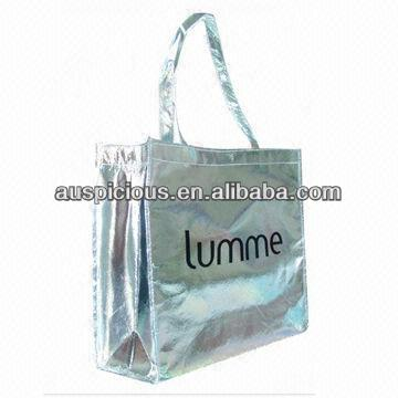 Shopping bag silver lamination non woven tote bags