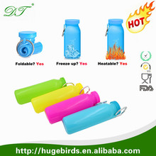 2016 Hot Selling Insulated Silicone Folding Squeeze Water Bottle, Foldable silicone sports water bottle BPA
