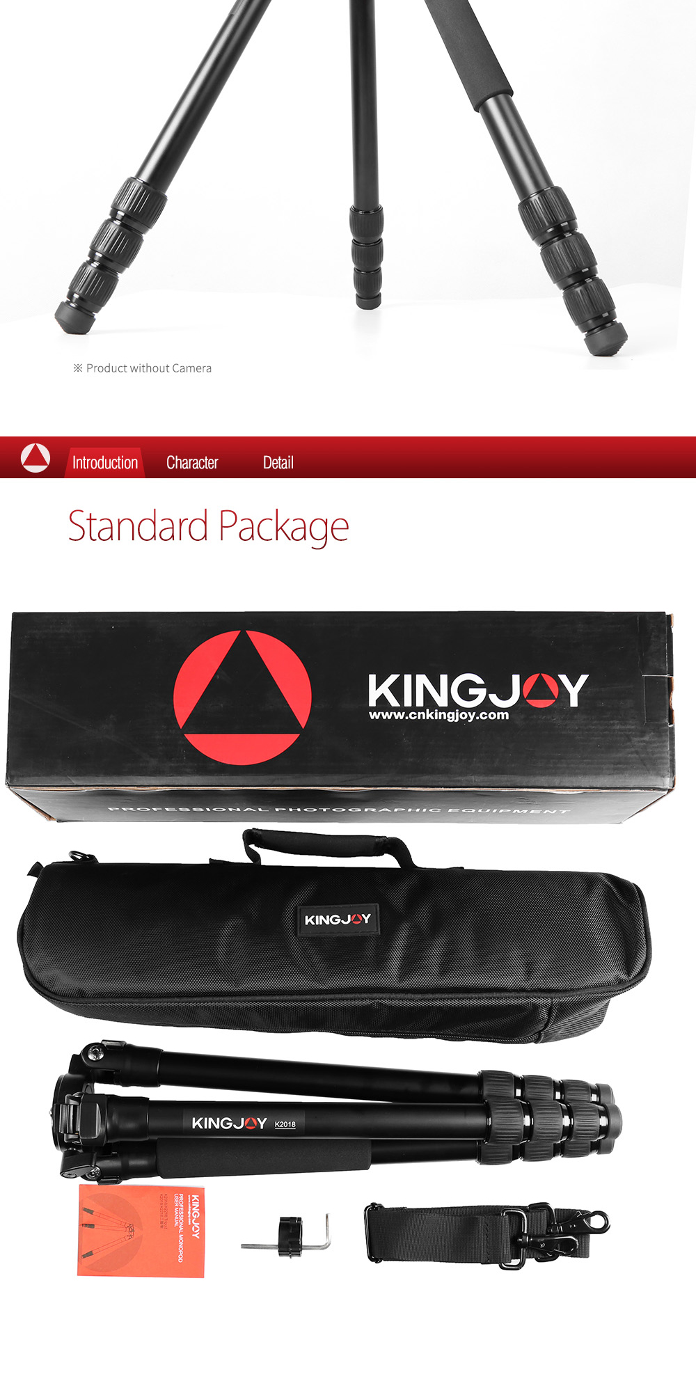Private label Kingjoy new released 4 section lightweight aluminum professional video camera tripod