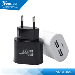 Veaqee 2 USB portable cell phone battery travel charger for iphone 6
