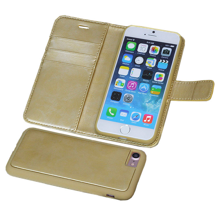 Wallet Leather Case with Detachable Folio, Card Slot Magnet Back Case for iPhone 7 case