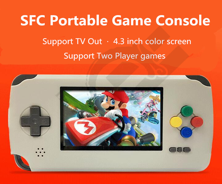 Newest Pocket Game Player For SFC For SNES portable game games read cartridge with two gamepad
