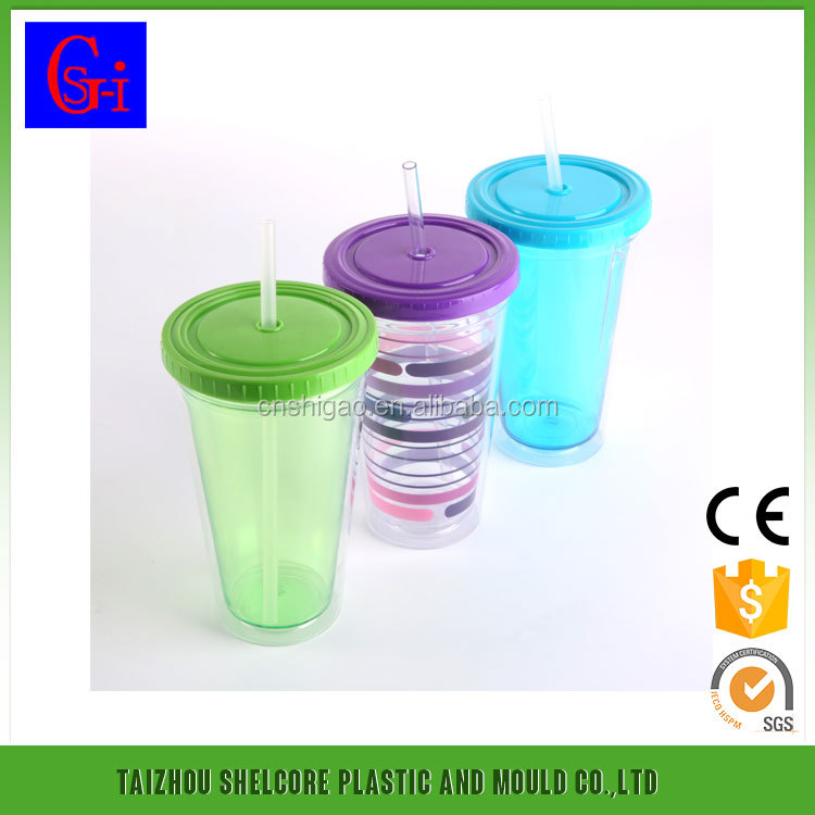 16oz Double Wall Drinking Plastic Cup With Straw And Lid