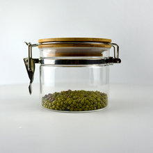 100g elegant clip top glass spiece jar with wood lid