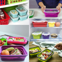 2018 Hot product Bpa free Silicone Food Storage Containers with Airtight Plastic Lids,Set of 4 Collapsible Bento Boxes