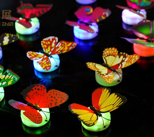 stock led flashing light butterfly with sucking disc or sticker